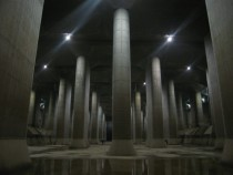 G-Cans Project Japan worlds largest underground flood water diversion facility - this image is with people it shows scale of this structure