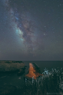 Galactic Core over Shark Fin Cove Davenport CA