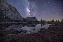 Galactic Eruption The Milky Way gleaming over Vogelsang Peak Yosemite National Park