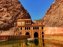 Galtaji temple complex in Rajasthan INDIA was built in the th century with pink stones and is set in the lap of the Aravalli range