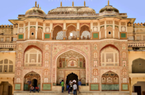 Ganesh Pol or the Ganesh Gate named after the Hindu god Lord Ganesh constructed  and  by King Jai Singh II is located in the main palace of the Amber Fort Rajasthan INDIA