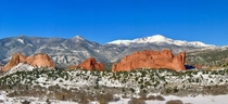 Garden of the Gods and Pikes Peak after a fresh spring snow Colorado Springs Colorado