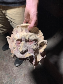 Gargoyle Head that fell from the ceiling molding in an abandoned theater