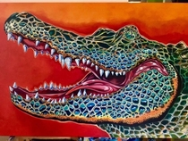 Gator Country oil on  ft canvas by Kobasky StPete Fl