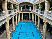 Gellert Baths in Budapest Built during WW natural hot springs flowing through an Art Nouveau building