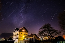 Geminid meteor shower -  trails in  hours -