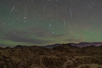Geminids meteor shower  at Alabama Hills on December   composite image