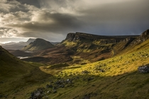 Gentle sunlight on Quiraing Isle of Skye Scotland  by Pascal Bobillon