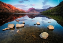 Gentle sunset gentle lake at Buttermere Lake District England