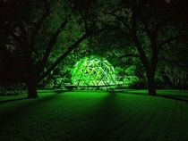 Geodesic domewater gardening Texas Nighttime view x