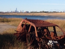 Gerritsen Beach Brooklyn back weeds used to be a big place to abandon cars Overlooking the world trade center in the distance  x