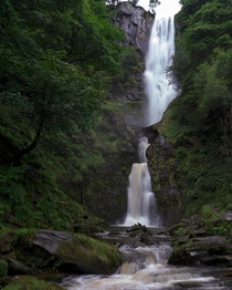 Get up early to avoid the crowds at Pistyll Rhaeadr Waterfall Wales UK