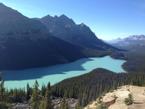 Getting a good look at what glaciers can do at Peyto Lake in Banff Alberta Canada