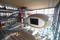 gget The egg Auditorium hanging from the roof at Karlstad University Sweden