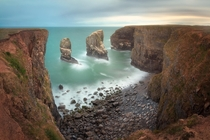 Ghosts of Dawn Stack Rocks in the Morning Pembrokeshire South Wales United Kingdom  by ansharphoto