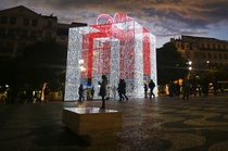 Giant Christmas Present in Lisbon Portugal