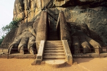 Giant lions paws at the entrance of Sigiriya Fortress the only remaining parts of a colossal lion statue Sri Lanka Anuradhapura period th century AD