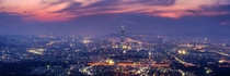 Giant nightscape of Seoul seen from Namhansanseong Fortress South Korea