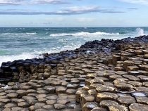 Giants Causeway and choppy seas in Northern Ireland