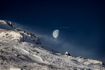 Gibbous Moon beyond Swedish Mountain - taken in Jmtland Sweden by Gran Strand -