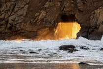 Gift from the Winter Solstice Once year for a few weeks the sun perfectly aligns to create a beam of light After two failed attempts I got a clear day Pfeiffer Beach Big Sur California