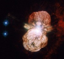 Gigantic lobes of gas and dust billowing from the supermassive star Eta Carinae at a speed of  million kmh