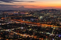 Gigantic nightscape of Seoul seen from Mt Yongma Seoul South Korea
