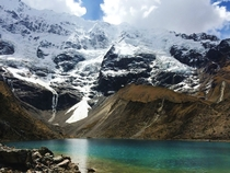 Glacial lake near the Salkantay pass Peru  x