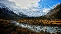 Glacial river passes beneath Mt Cook New Zealand   x