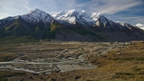 Glacial runoff creates Black Rapids Creek in the Alaska Range