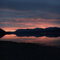 Glacier National Park Montana Lake McDonald had perfectly still water for the sunset  no editing or filters