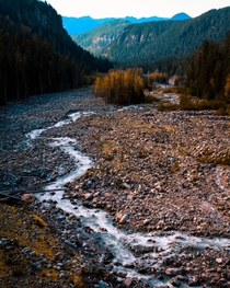 Glacier runoff snaking its way in Mt Rainier National Park Washington  itkjpeg