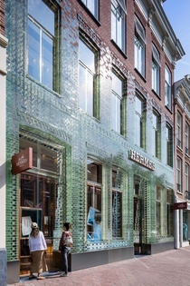 Glass Brick Facade Hermes Store in Amsterdam by MVDR