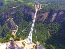 Glass bridge at a gorge in Zhangjiajie Hunan Province China