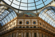 Glass roof of the Galleria Vittorio Emanuele II in Milan Italy