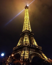 Gleaming Eiffel Tower in Paris France
