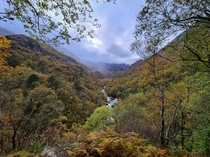 Glen Nevis valley in Scotland on the route up to Steall Falls