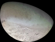 Global Color Mosaic of Triton Neptune by the Voyager    x-post rHI_Res