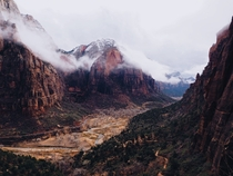 Gloomy day in Zion national park during Thanksgiving