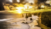Glorious sunset at the Twelve Apostles Victoria Australia  by Aaron Wheatley