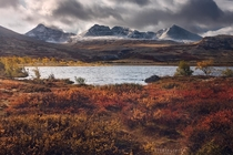 Glowing autumn with a topping of snow Rondane Norway