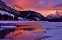 Glowing Cascade Mountain Vermillion Lake Banff Alberta Canada  by Shuchun Du