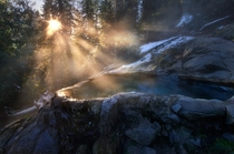 Glowing Rays Illuminating Steam from Natural Hot Spring in N Idaho