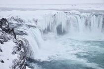 Goafoss North Iceland in a blizzard