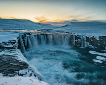 Goafoss - The waterfall of gods during sunset on a cold winter afternoon in Iceland   Insta glacionaut