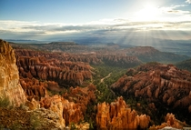 God rays at sunrise over Bryce Canyon National Park Utah - Akin Bilgic