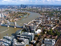 Going against the trend a huge city London along the Thames with Tower Bridge