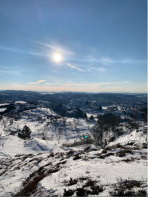 Going down Mount Ulriken the highest of the seven mountains surrounding the city of Bergen Norway no edit needed