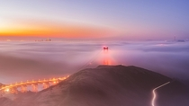 Golden Gate Bridge and San Francisco blanketed under summer fog