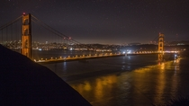 Golden Gate Bridge under the stars San Francisco CA